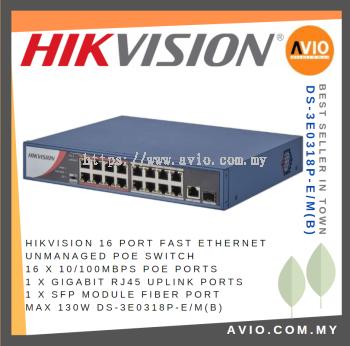 Hikvision DS-3E0318P-E/M(B) 16 POE + 1 Uplink POE Switch