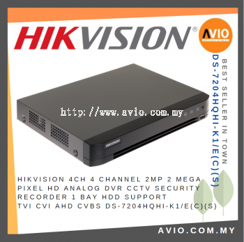 Hikvision 4ch 4 Channel 2MP 2 Mega Pixel HD Analog DVR CCTV Security Recorder 1 Bay HDD TVI CVI DS-7204HQHI-K1/E(C)(S)