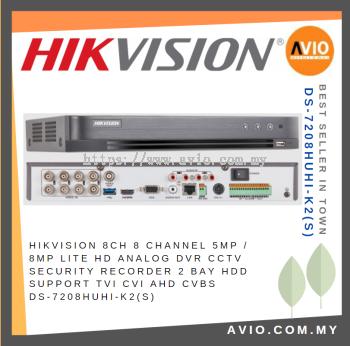 Hikvision 8CH 8 Channel 5MP / 8MP Lite HD Analog DVR CCTV Security Recorder 2 Bay HDD Support TVI CV