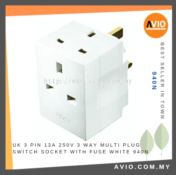 UK 3 Pin 13A 250V 3 Way Multi Plug Switch Socket Adaptor Adapter with Fuse White 940N