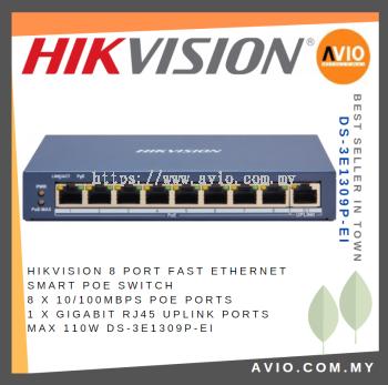 Hikvision 8 Port Ethernet Smart POE Switch 8x 100mb POE 1x Gigabit RJ45 Uplink 110w DS-3E1309P-EI