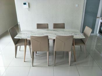 White Marble Dining Table - Arabescato Salita