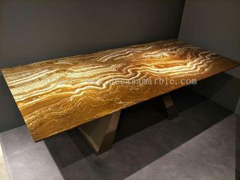 Modern Marble Dining Table - Arancio Marble
