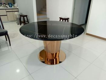 Black Marble Dining Table - St. Laurent Marble
