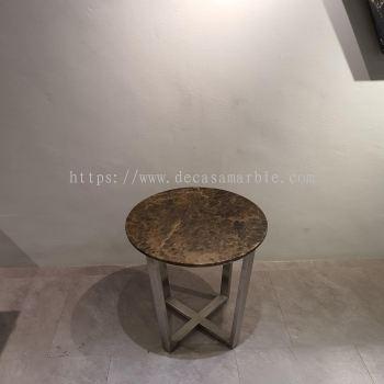 Round Marble Side Table - Dark Emperador