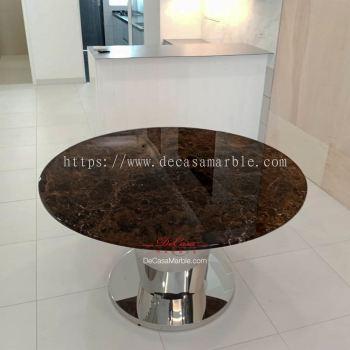 Modern Dining Table | Dark Emperador | 6 Seaters
