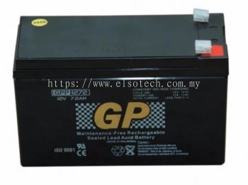 GP 12V 7.2Ah Rechargeable Sealed Lead Acid Battery - GPP1272