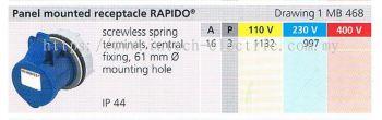 IP44 PANEL MOUNTED RECEPTACLE RAPIDO  (MB 468) 001