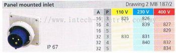IP67 PANEL MOUNTED INLET  (MB 187-2) 001