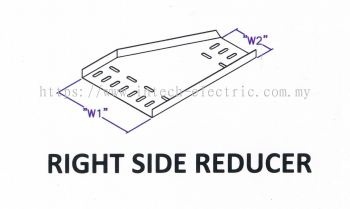 Straight Edge Perforated Cable Tray Fitting - Right Side Reducer
