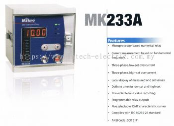 MIKRO MK233A NUMERICAL OVERCURRENT RELAY
