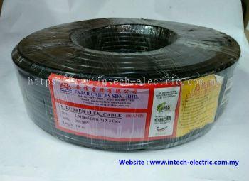 Fajar 30/0.25mm��1.5mm��x 3 Core Trs Rubber Flexible Wire��Black��100meter