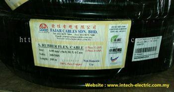 Fajar 56/0.30mm��4.0mm��x 4 Core Trs Rubber Flexible Wire��Black��100meter