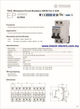 Terasaki TECS - DIN Modular 10KA,6KA(80A,100A,125A) B,C,D Curve 2Pole MCB