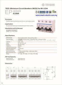Terasaki TECS - DIN Modular 10KA,6KA(80A,100A,125A) B,C,D Curve 4Pole MCB
