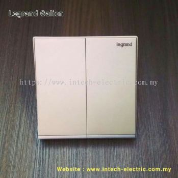 LEGRAND GALION 282402-C2 2GANG 1WAY SWITCH - CHAMPAGNE(SILVER BAR)