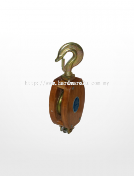 RE01) Wooden Block with Hook Fitting (Single Sheave)