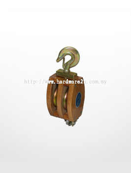 RE03) Wooden Block with Hook Fitting (Double Sheave)