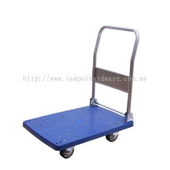 Foldable Hand Trolley 4 Wheel Plastic Platform 150kg