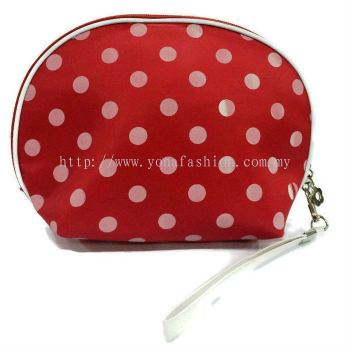 Polkadot Mirror Design Makeup Pouch (Red White)