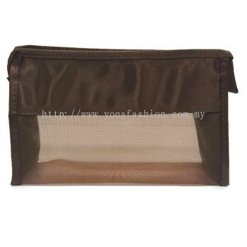 Satin Net Design Makeup Pouch (Brown)