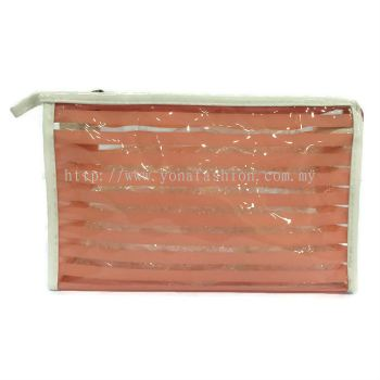 Strips Square Shape Design Makeup Pouch (Light Orange)