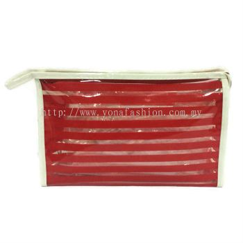 Strips Square Shape Design Makeup Pouch (Red)