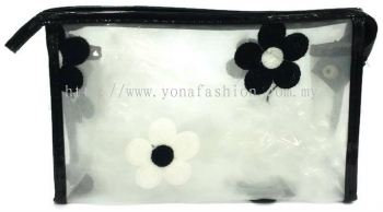 Square Shape Flower Lace Makeup Pouch (Black)