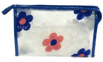 Square Shape Flower Lace Makeup Pouch (Blue)