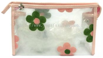 Square Shape Flower Lace Makeup Pouch (Peach)