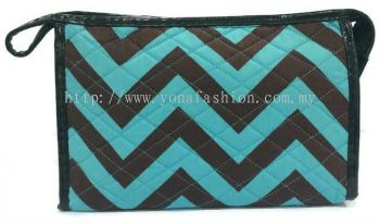 Ziq Zaq Square Shape Design Makeup Pouch (Blue Black)