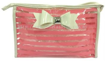 Ribbon See Through Makeup Pouch (Pink)