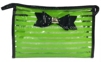 Ribbon See Through Makeup Pouch (Green)