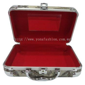 Floral Makeup / Jewelry Organizer Briefcase (Beige)