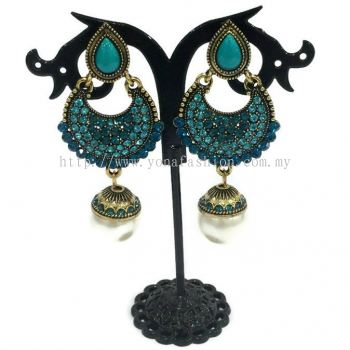 Traditional Colourful Stone Pearl Earring (Blue Turquoise)