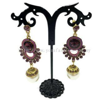 Traditional Design Stone Pearl Earring (Purple)