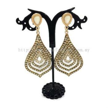 Grand Leaf Shape Fully Stone Earring (Gold)