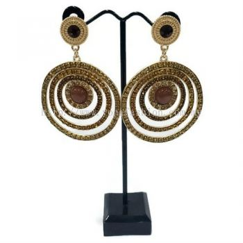 Grand Circle Fully Stone Earring (Gold / Brown Stone)