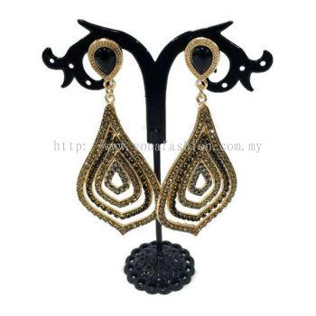 Grand Leaf Shape Fully Stone Earring (Gold / Black Stone)