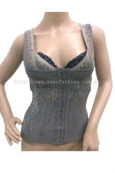 Women��s Flower Gold Design Bodysuit Slimming Shapewear Girdle Tummy Trimmer (Gray)