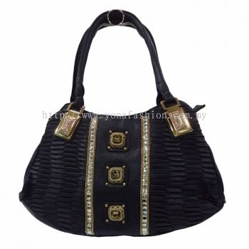 Luxury Crystal Stone Pu Leather Shoulder Bag (Dark Blue)