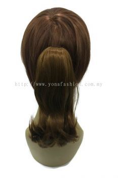 Short Curly Ponytail Hair Clip 25cm (Light Brown)