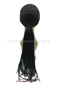 Long Braid Hair Extension With Beads 55cm (Black)