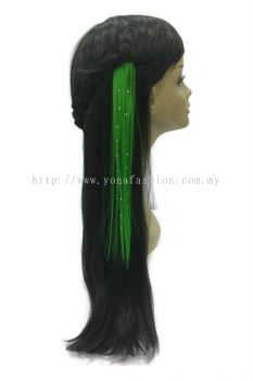 Straight Hair Extension With Stone (Green)