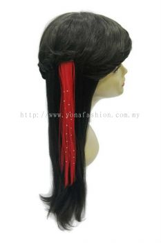 Straight Hair Extension With Stone (Red)