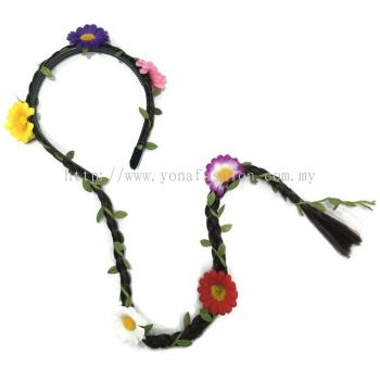 Long Braid Hair Band With Flowers (Multicolour)