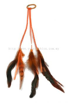 Feather Braid Hair Tie Orange