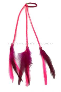 Feather Braid Hair Tie Pink