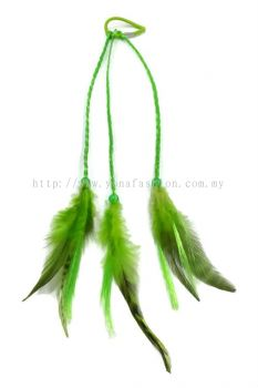 Feather Braid Hair Tie Green
