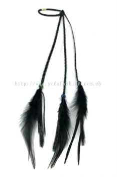 Feather Braid Hair Tie (Black)